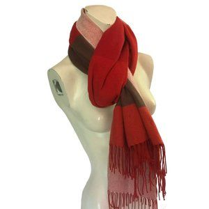 GAP Color Blocked Winter Scarf Large Flannel Red